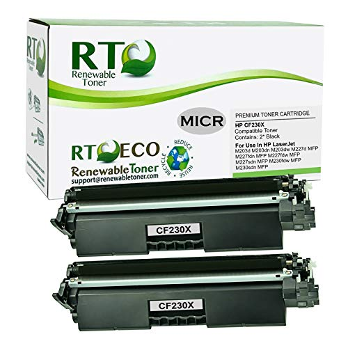 Renewable Toner Compatible MICR High Yield Toner Cartridge Replacement for HP 30X CF230X Laserjet Pro M203 M227 (2-Pack)
