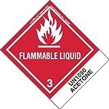 Labelmaster HSN5200 Flammable Liquid Label UN1090 Acetone Paper Standard Tab Hazmat 4.75 x 4 (Pack of 500) [並行輸入品]