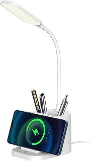 Lampe de table, petite lampe de bureau avec chargeur sans fil, 3 modes d'éclairage de protection des yeux, tube réglable à...