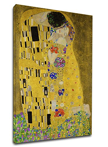 Quadro Klimt Il Bacio - The Kiss (Lovers) - Quadro stampa su tela canvas con o senza telaio (CM 85X130, QUADRO CON TELAIO IN LEGNO)