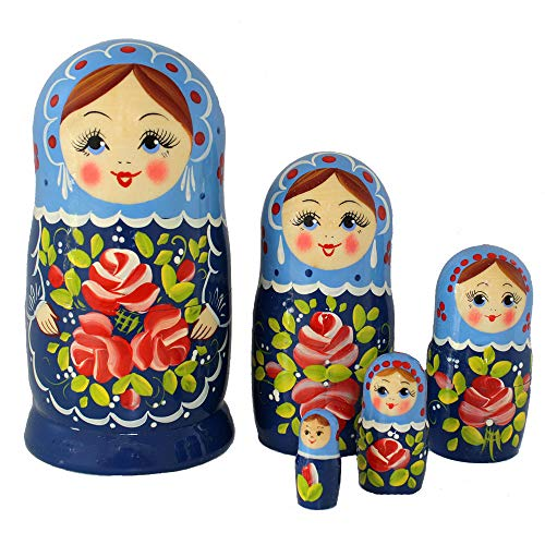 Semenovskay Rospis russische Matroschka Babuschka Matrjoschka Holzpuppen handbemalt Set 5 Puppen Blume (blau)