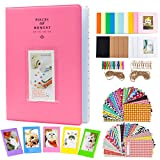 Amimy Photo Album Accessori Set di Bundle per Fujifilm Instax Mini 7s 8 8+ 9 25 50s 70 90, Polaroid Snap PIC-300, pignone HP, Kodak Mini 3-inch Film (128 Tasche, Flamingo Pink)
