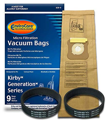 EnviroCare Kirby Generation 1,2,3,4,5,6 and Ultimate G Allergen Filtration (9 Bags & 2 Belts), White