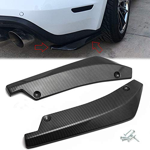 Xotic Tech JDM Rear Bumper Canard Diffuser Splitter Valence Spoiler Fin Lip Trim Universal Fit (Carbon Fiber Pattern) 4.48'x17.63'