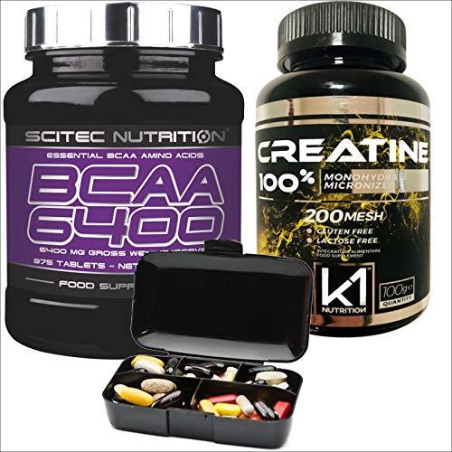 Scitec Nutrition Aminoacidi Ramificati BCAA 6400 375 compresse + Creatina Monoidrato 100 gr. 100% creatine + Portapillole Nutriline