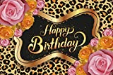 Pink and gold rose leopard print theme Happy Birthday Backdrop ,Happy Birthday Photography Background for girl,women, sister, daughter. Party Banner Dessert Table Decorations,4x6ft