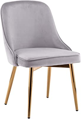 LJFYXZ Modern Design Dining Chairs with Cushioned Pad Velvet Cushion Kitchen Restaurant Lounge Chair Metal Leg Bearing Weight 150kg for Modern lounges Restaurant Furniture (Color : Gray)