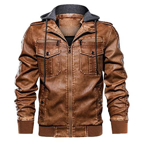 POachers Homme Automne Hiver Veste en Similicuir Biker Casual Jacket à Capuche Mode Vintage Zipper Blouson à Capuche Veste a Capuche Sweatshirt Sweat à Capuche Hoodie Manteau Coat Slim S-2XL