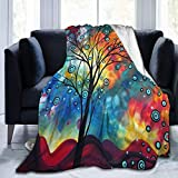 Greeting The Dawn Tree Ultra Soft Flannel Throw Blankets for Living Room Bedroom Couch Sofa Chair Office Car 60' x50