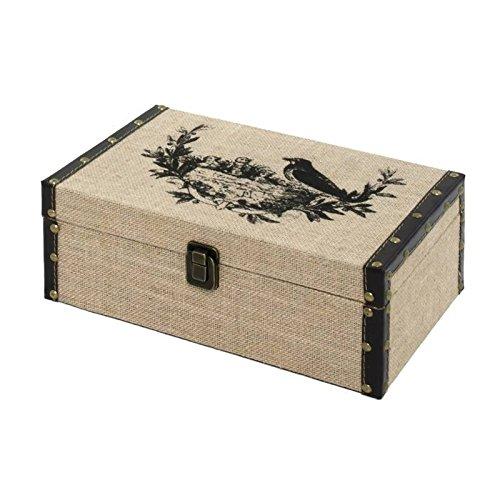 chemin_de_campagne Coffre Boîte de Rangement Bois Toile de Jute 30x19.50x11.50 cm