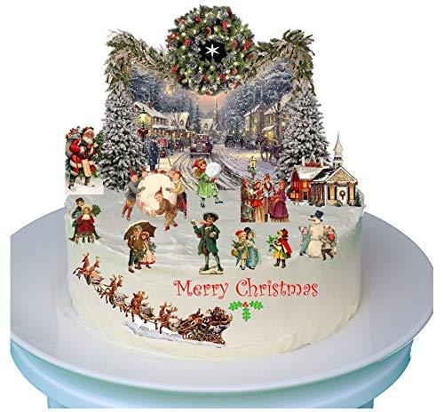 Scena natalizia tradizionale vittoriana con carta di riso commestibile, perfetta per torte natalizie