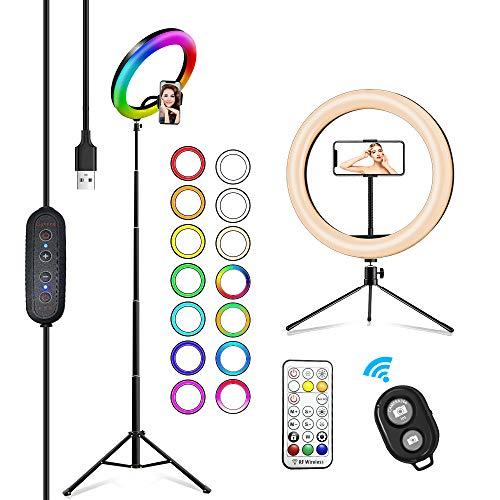 2NLF Aro de Luz para Movil 10' RGB Anillo de luz LED con Trípode Soporte 53' Altura Regulable 26 Colores 10 Brillos Regulables Control Remoto Inalámbrico para Selfie Maquillaje Youtube TIK Tok Live