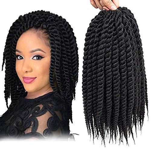 UNA 6packs Senegalese Twist Crochet Hair Short Braids Small Havana Mambo Twist Crochet Braiding Hair Senegalese Twists Hairstyles For Black Women 22strands/pack (12inch,1B)