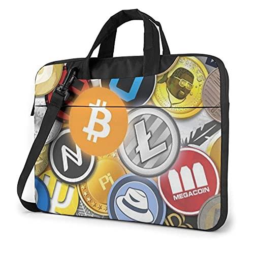 Bolsa para portátil de 13-15,6 Pulgadas Criptomoneda Bitcoin BTC Bolso de Hombro para portátil Bolso de Hombro Elegante Ordenador Portátil