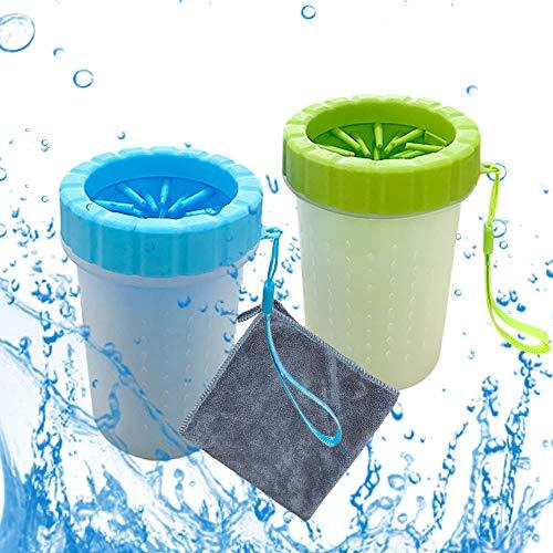 2 Stück Pfotenreiniger Für Hunde,Hundepfoten Reiniger mit Microfaser Handtuch für Hunde Katzen...