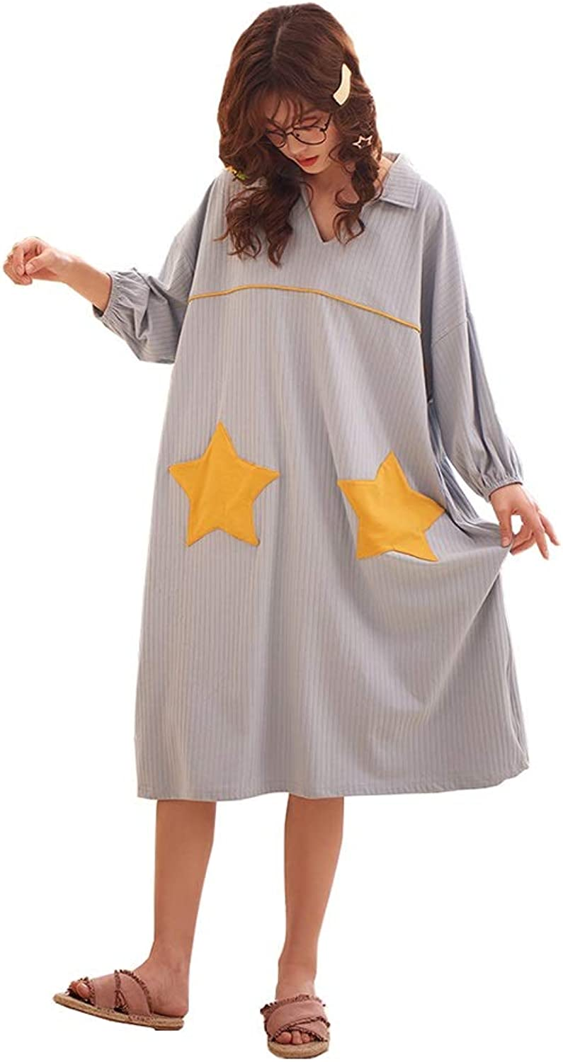 Bathrobes Cotton Pajamas Ladies Spring and Autumn Yukata LongSleeved Loose Home Service Comfortable and Soft (Size   L)