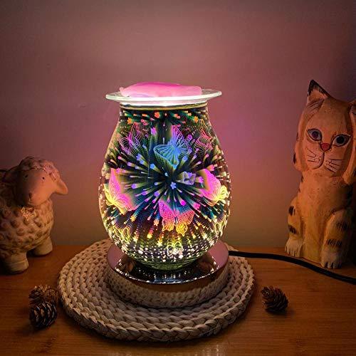 Mdcgok Electric Oil Burner Wax Melt Burner 3D Fireworks Effect Aroma Lamp Touch Sensitive Warmer fragrance oil burner for Home Office Bedroom Living Room