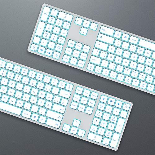 Jelly Comb Beleuchtete Tastatur mit 3 Bluetooth Kanal, Kabellose Wireless Fullsize QWERTZ Funktastatur Wiederaufladbar für Windows PC/Laptop/Tablet/Surface Pro Go, Weiß und Silber