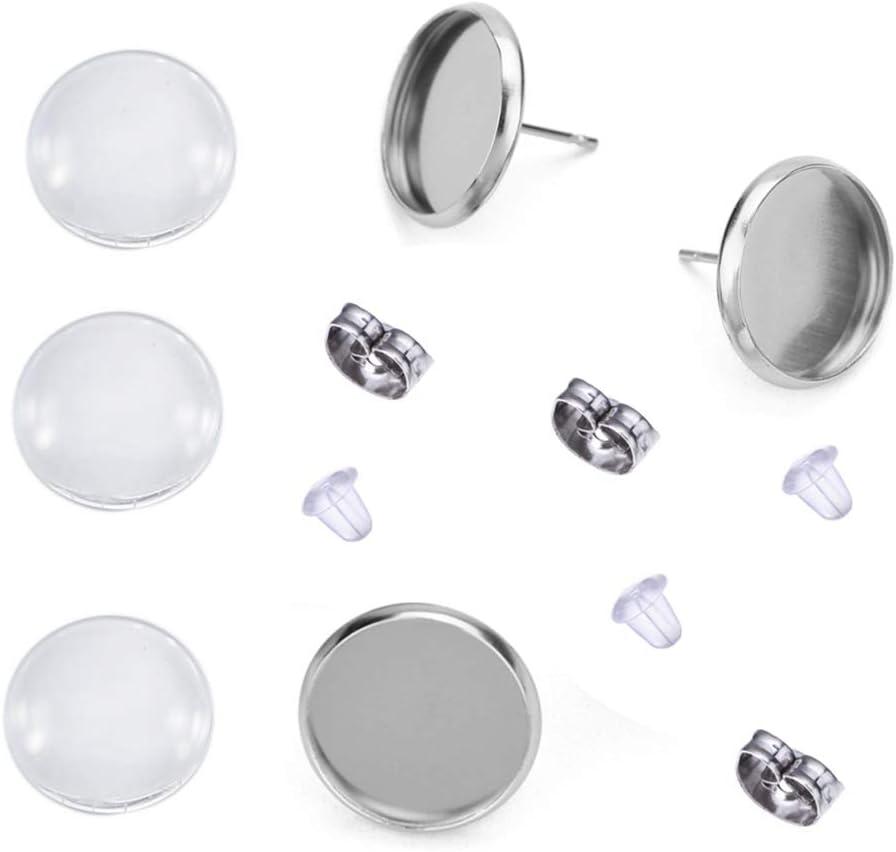 2x Trendy stud earrings Cabochon