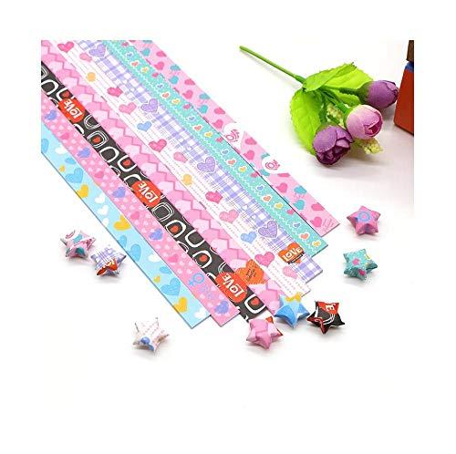 Set Sternenhimmel Blumen mehrfarbig drucken Glücksstern handgemachte Origami-Streifen, fünfzackige Sterne gestapelt Papier treibende Flasche Material-Süßer Bär: 5 Bretter, 8 Farben, 650 Blatt