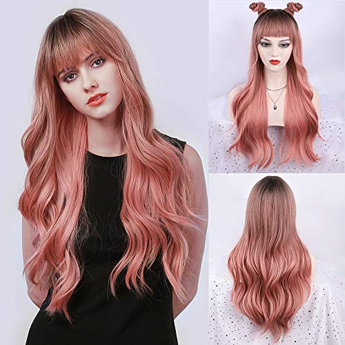 FORCUTEU Pink Wig with Bangs Pink Wigs for Women Long Pink Ombre Wig Pink Wavy Heat Resistant Wigs for Daily Party(Ombre Pink 26inch)