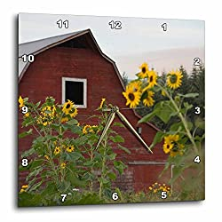 3D Rose Canada-Vancouver Island. Sunflowers in Front of a red barn-Glenora Wall Clock, 13 x 13