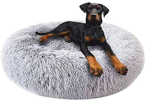 Round Deluxe Haustierbett für Hunde und Katzen, mit Reißverschluss, leicht zu entfernen und zu waschen, Kissen für Katzen/Hunde, 60 cm-120 cm / 5 Größen, Kunststoff, grau, 120cm