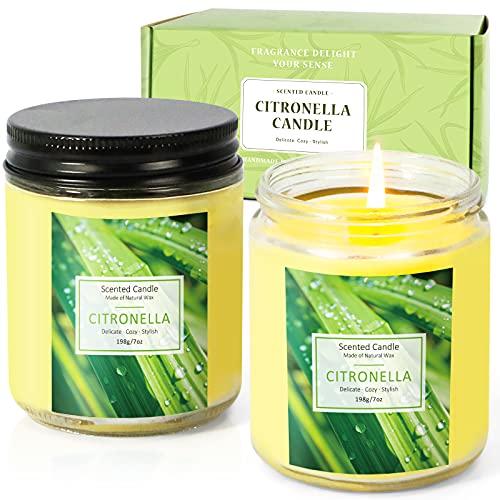 Scent-Hi - Vela de citronela perfumada de cristal, 200 g, cera de soja natural, aceite esencial de citronela, para exterior, interior, viajes, jardín, camping, barbacoa, juego de 4