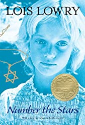 More books by Lois Lowry include Number the Stars, book cover with young girl and gold Jewish star necklace