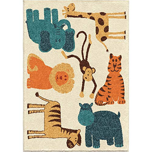Orian Rugs Kids Court Safari Area Rug, 5'2 x 7'6, Ivory