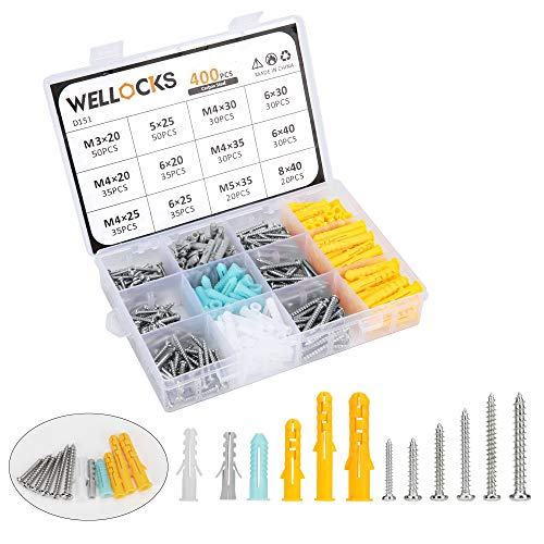 WELLOCKS Tornillos para paneles de yeso Kit surtido de tornillos 400 PCS Tornillos metálicos autorroscantes M3 M4 M5 y tacos de plástico Juego de tacos de pared (D151)