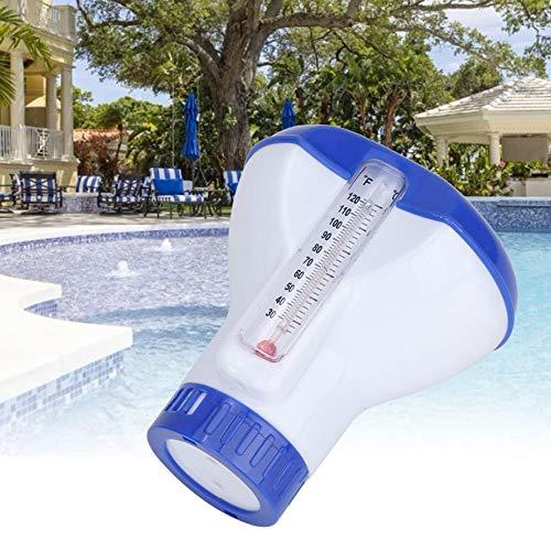 PopHMN Dispensador de Productos químicos flotantes de SPA para Piscinas, dispensador automático de Productos químicos Flotante con termómetro (Cloro)