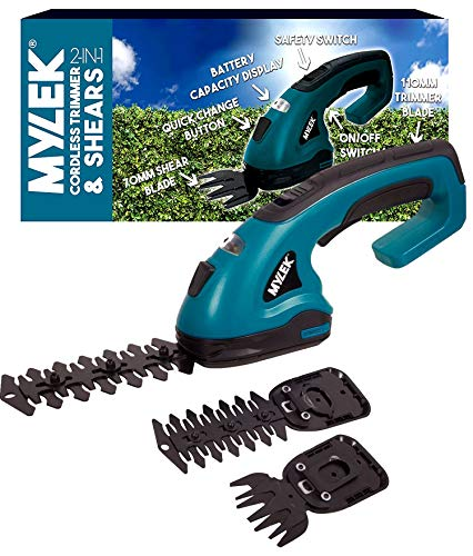 MYLEK Cordless Hedge Trimmer, Grass Shears with 2 Blades and Blade Guards Handheld for Topiary Bush Shrubs, Edging Garden Grass Lawn, Quick Change Button, Safety Switch & Battery Capacity Display