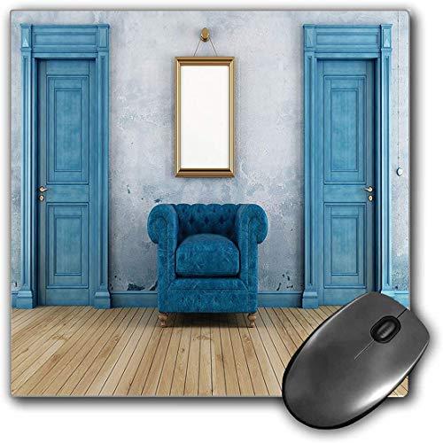 Mauspad-Spielfunktion Antiquität Dicke wasserdichte Desktop-Mausmatte Leerer Sessel mit Zwei Türen und einfacher Spiegel mit goldenem Farbrahmen,rutschfeste Gummibasis