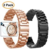 Valkit Compatible Galaxy Watch 42mm/Galaxy Active 2/Galaxy Watch 3 41mm Bands, 2 Pack 20mm Stainless Steel Solid Metal Wrist Band Business Strap for Galaxy Watch Active/Active 2, Rose Gold+Black