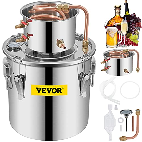 KITGARN Moonshine - Destilador de agua de acero inoxidable tubo de cobre para el hogar termómetro integrado12L