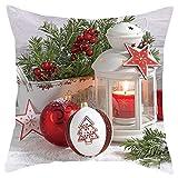 DFVVR Merry Christmas - Juego de funda de almohada de felpa corta para sofá, decoración del hogar, 45,7 x 45,7 cm