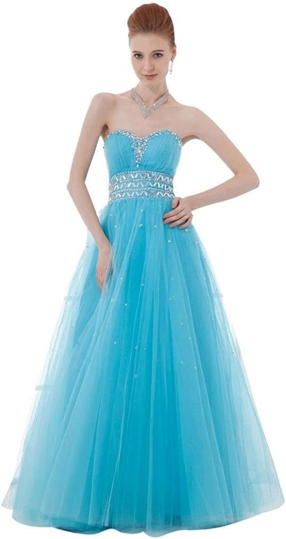 Dearta Women's ALine Sweetheart Sleeveless FloorLength Tulle Prom Dresses