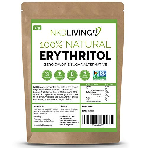 100 % érythritol naturel, 2 kg | Granulé substitut au sucre avec ZÉRO calorie