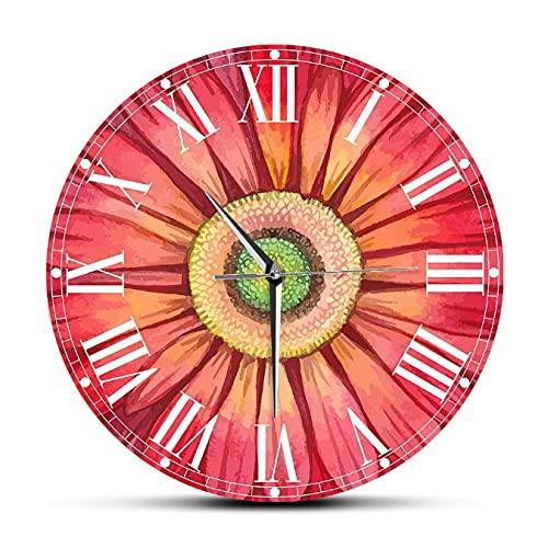 LTMJWTX Reloj de Pared Grande con Pinturas de Gerbera y Margaritas de Acuarela roja, Reloj con diseño Floral de Girasol, decoración de Sala de Estar, Relojes silenciosos-30X30cm