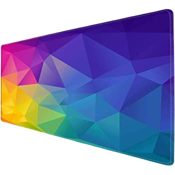 Galdas Gaming Mouse Pad XXL XL Large Mouse Pad Mat Long Extended Mousepad Desk Pad Non-Slip Rubber Mice Pads Stitched Edges Thin Pad (31.5x11.8x0.08 Inch)- Abstract Rainbow Background …