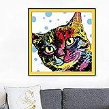 Lindo Gato Cabeza Pintura al óleo Mascota Gato Cartel Arte de la Pared para el hogar Sala de Estar decoración Gatito Lienzo Pintura,Pintura sin Marco,75x75cm