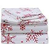 EnvioHome 160 GSM Durable 100% Cotton Winter Flannel Sheet Set - 3 Pc - Twin, Snowflakes Red