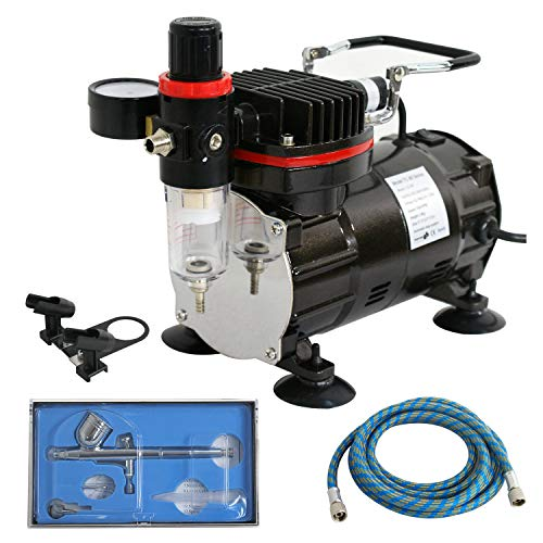 model air compressors F2C TC-802K Pro Air Compressor W/Airbrush Kit Dual Multi-Purpose Action Airbrushing System