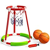 ROPODA Pool Basketball Hoop, Floating Pool Basketball Game for Kids and Adults, Includes Water Basketball Hoop, 2 Balls and Pump