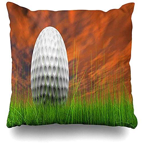 Aoyutiy Sunset Course Green Fris natuurgras golf sport vrijetijdsactiviteit bal helder close kussensloop vierkant