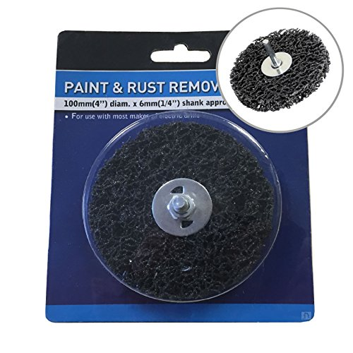 Paint & Rust Remover 4' Drill Attachment Abrasive Wheel with Shank 100mm x 6mm