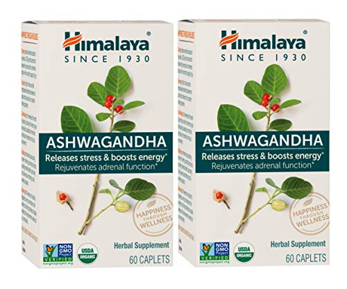 Himalaya Organic Ashwagandha, Natural Stress & Anxiety Relief, Energy Supplement, 670 mg, 60 Caplets, 4 Month Supply, 2 Pack