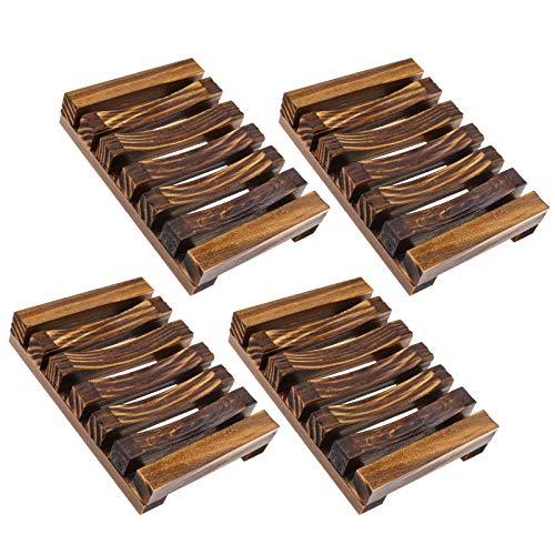 OTOTEC Jabonera de madera, 4 unidades, color carbonizado, soporte para jabón, soporte de esponja, soporte de jabón, kit para cocina, baño, ducha, bandeja de ducha de 11,5 x 8 x 2,2 cm