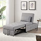 IPKIG Convertible Chair Sleeper Bed, 4 in 1 Multi-Function Sleeper Sofa Folding Ottoman Modern Linen Fabric Guest Bed with Lumbar Pillow and Adjustable Sleeper for Small Space Apartment (Grey)